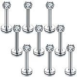 Xpircn Stainless Steel 16G 3mm CZ Labret Monroe Lip Rings Ear Piercings Studs 6-10mm Bar Length