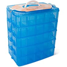 LifeSmart USA Stackable Storage Container Blue - 50 Adjustable Compartments - Store More Than All Other Cases - Lego Dimensions - Shopkins - Littlest Pet Shop - Arts and Crafts - And More!
