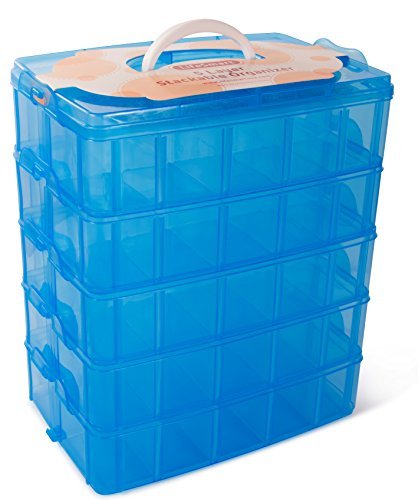 LifeSmart USA Stackable Storage Container Blue - 50 Adjustable Compartments - Store More Than All Other Cases - Lego Dimensions - Shopkins - Littlest Pet Shop - Arts and Crafts - and More! (5 Tier)