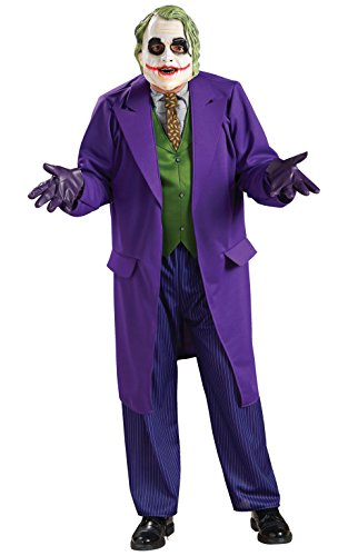 [Batman The Dark Knight Deluxe The Joker Costume, Black/Purple, Standard] (The Joker Masquerade Costume)
