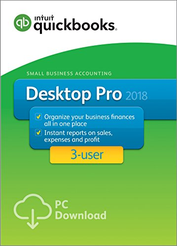 Software : QuickBooks Desktop Pro 2018 Small Business Accounting Software 3 User [PC Online Code][Old Version]