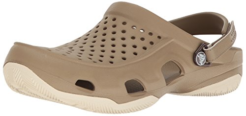 crocs Men's Swiftwater Deck Clog M Mule, Khaki/Stucco, 11 M US