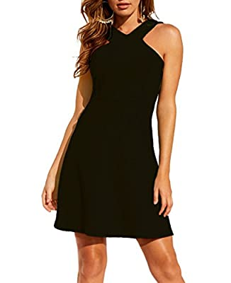 JTNFairy Women's Sexy Summer Casual Dress Pure Color Personality V Neck Sleeveless Party Midi Flared Tank