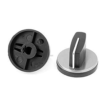 DealMux Horno de Gas cubierta de la estufa quemador perilla del mango 2pcs Negro Tono de plata: Amazon.es: Hogar