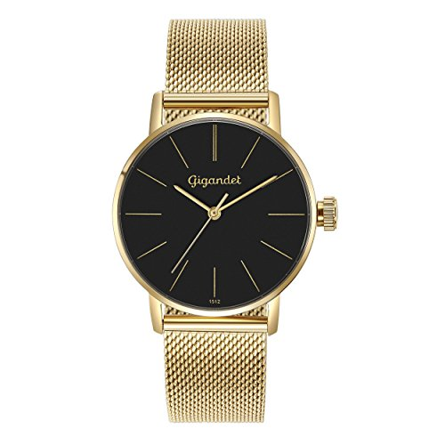 Gigandet Women's Quartz Watch Minimalism Analog Stainless Steel Bracelet Gold Black G43-023