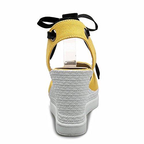 casuales alto cuña tobillo puntera de Sandalias sandalias cerrada espadrilla de zapatos de plataforma AnMengXinLing correa con mujer de tacón Amarillo para gHFx0Zq