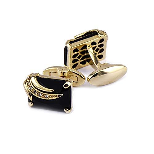 Adisaer Cufflinks Gold Copper Rectangular Cubic Zirconia Polished Finish Cufflinks for Men