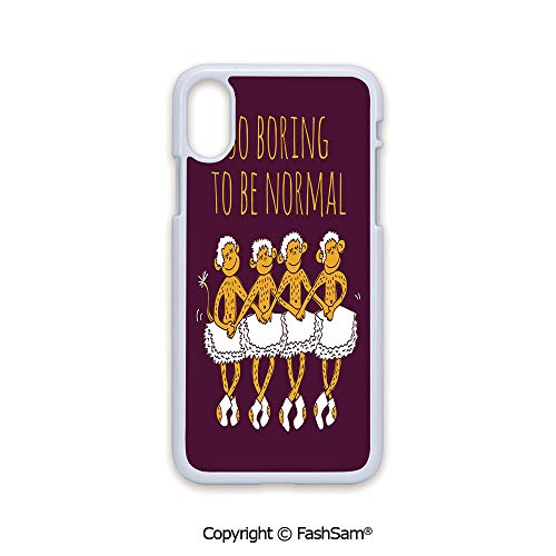 (Phone Case Compatible with iPhone X Black Edge Funny Ballerina Dancing Monkeys with So Boring to Be Normal Quote Print 2D Print Hard Plastic Phone Case)