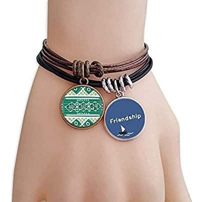 Green Hills Mexico Totems Ancient Civilization Friendship Bracelet Leather Rope Wristband Couple Set Estimated Price -
