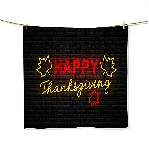 Georgia Sign Bulldogs Neon (FootMarkhome Soft & Absorbent Bath Towel- Neon Sign Thanksgiving Day Fade Resistant Towel-Size:9.9
