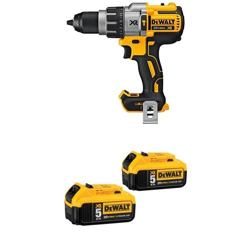 DEWALT DCD996B Bare Tool 20V MAX XR Lithium Ion Brushless 3-Speed Hammer Drill and 20V MAX XR 5.0Ah Lithium Ion Battery, 2-Pack