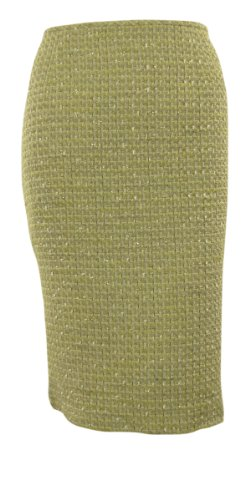Petite Tweed Pencil Skirt - Calvin Klein Women's Metallic Flecked Tweed Woven Pencil Skirt (12P, Aloe)
