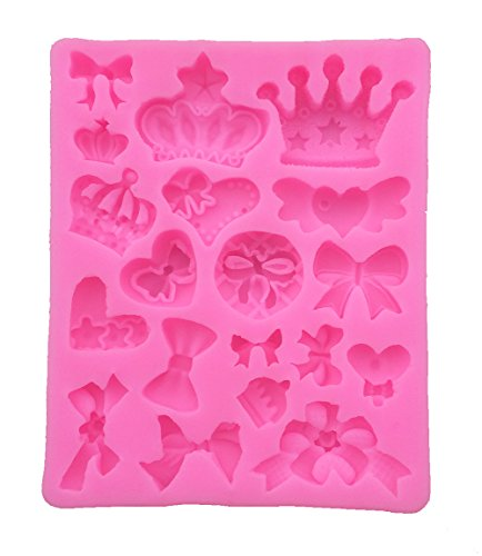Yatim DIY Silicone Crown Bowknot Shape Baking Mold for Homemade Soap, Cake, Cupcake, Bread, Muffin, Pudding, Jello, Bread, Cheesecake, Cornbread, Biscuit