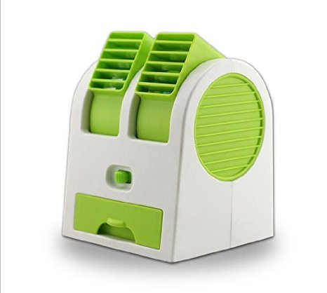 2016 New Double Layer USB Mini Air Conditioning Blade-less Fan Portable Mini-air Conditioner Outdoor office Runs On Batteries/USB (Green) by Lucky Shop1234