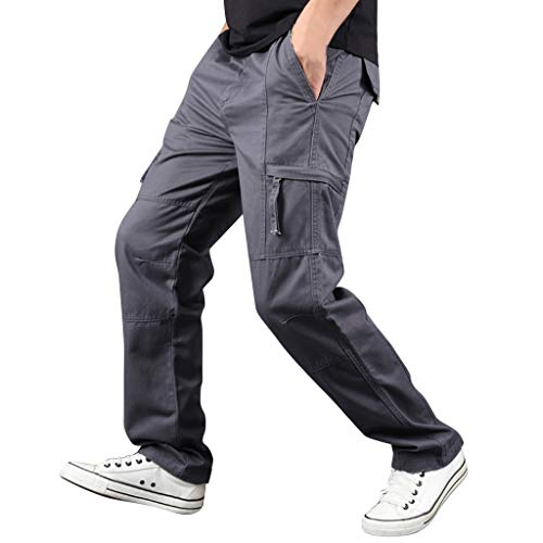 2019 New Men Pants,Summer Outdoor Cargo Casual Jogger with Pocket Wild Straight Sports Pants (Asian:L2, Dark Gray)