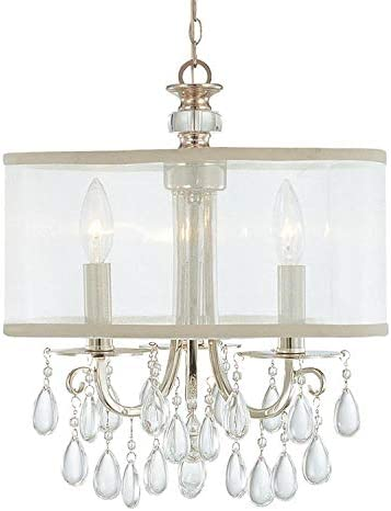 Hampton 3 Light Chrome Clear Crystal Drum Shade Chandelier