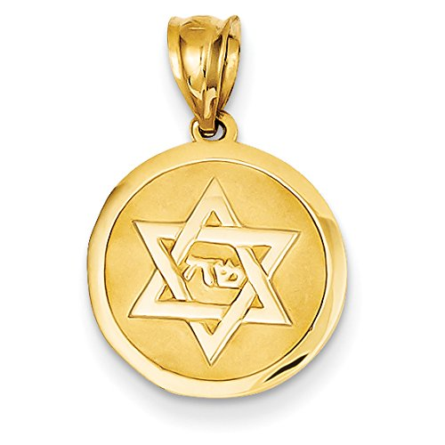 David Diamond Disc Pendant (Diamond2Deal 14k Yellow Gold Star of David Disc Pendant)