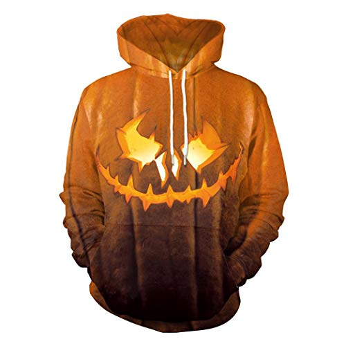 Novelty Village Halloween Scary Hoodies 3D Print Long Sleeve Pullover Top Blouse Sweatshirt-Pumpkin Print (Orange, L)