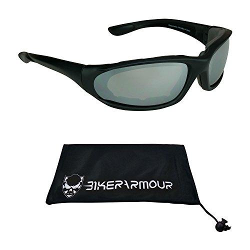 Motorcycle Mirrored Smoke Sunglasses Foam Padded with Bikerarmour Microfiber Cleaning Case (Tinted Smoke - Dark Sunglasses How