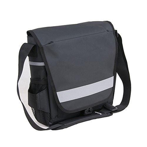 Topcombine Safety Messenger Bag with 3 Side Reflectors Unisex Waterproof PVC Tarpaulin Sports Bag Tablet Gym School Bike Bag