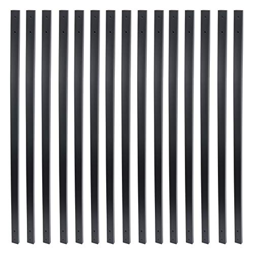 (Myard 38 Inches Traditional Rectangle Iron Balusters with Screws for Wood Aluminum Composite Facemount Railing, Classic Geometric Styling (25-Pack, Matte Black))
