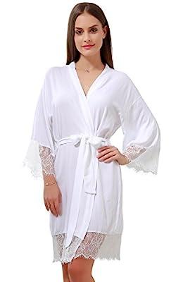 Cotton Kimono Wedding Party Bride Getting Ready Robe with Gold Glitter