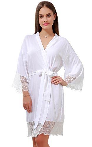 (GoldOath Women's Kimono Robes Cotton Lightweight Robe Long Bathrobe Soft Sleepwear V-Neck Ladies Nightwear with Lace Trim White)