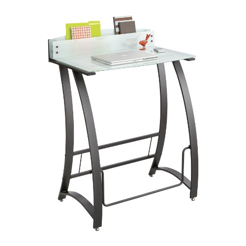 Safco Products 1941TG Xpressions Glass Top Stand-Up Computer Workstation Desk with Swinging Footrest Bar, Black Frame
