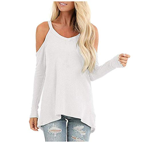 Severkill Womens Cold Shoulder Long Sleeve Tunics Waffle Knit High Low Tops Blouses Shirts White