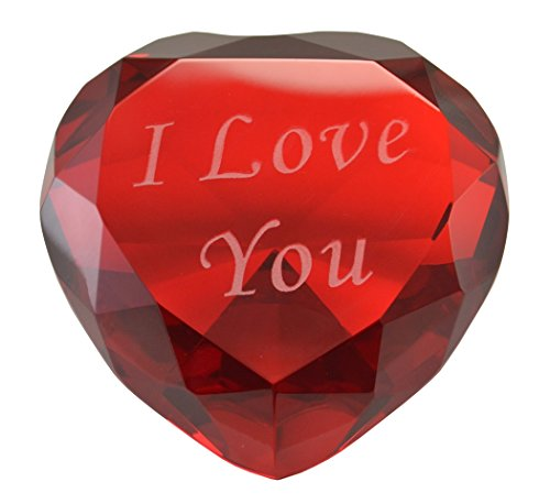 """- I Love You Heart Paperweight Crystal 3"""" Wide Solid Color Glass 80mm Red"""