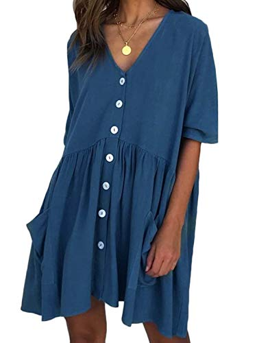 CHOiES record your inspired fashion Women's Loose Cotton Linen Dress Button Front Pleated Tunic Mini Dress with Pockets Blue