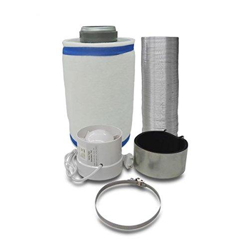 Grow Lüftungsset Klimaset Abluft-Filter Ø125mm bis 350 m³/h, Zentrifugal Lüfter 240 m3/h für Growbox grow-fritz