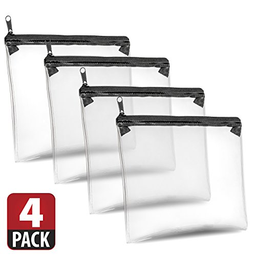 4 Clear Storage Bags By SLEEKO - Multipurpose Water Resistant Organizer Bags With Secure Zipper Closure (Pack Ditty)