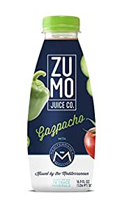 ZUMO Gazpacho (Ready-to-Drink, Cold Vegetable Soup; Pack of 8, 16.9oz/500mL Bottles)