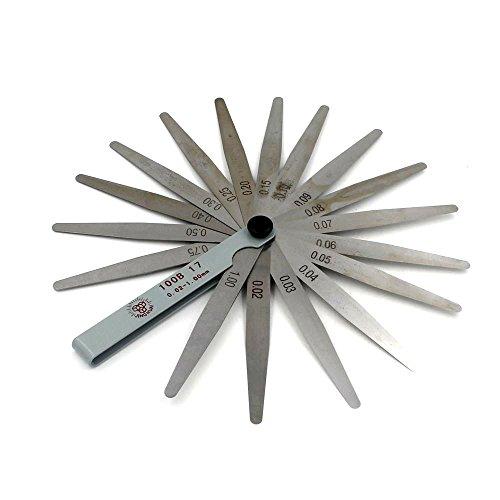 Feeler filler Gauge 17 Blades Metric 0.02-1.00mm Thickness Gage (Welder Blade)