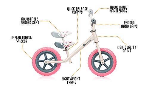 🥇 meteor Bicicleta sin Pedales para Niños 2-6 años hasta 30 kg Ultraligera Mini Bici Bebés Infantil Andadores Bebé Equilibrio con Sillín y Manilar Regulable Ruedas Anti-pinchazos First Bike