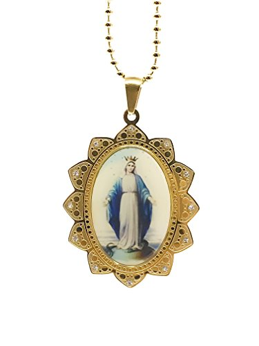 LESLIE BOULES Virgin Mary Miraculous Medal 18K Gold Plated Necklace 18