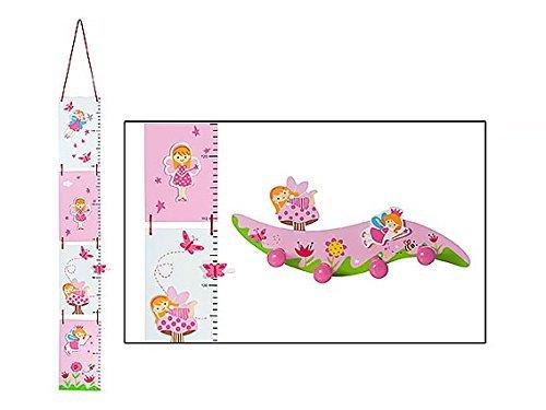 Filles Fée Graphique Toise de croissance et Crochet porte manteau mur Crochets pour Fée chambre de petite fille Mousehouse Gifts GR-438/437