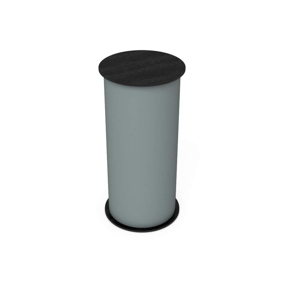 Vispronet Round Portable Exhibition Trade Show Silver Podium Table Counter Stand - Expo Counter Top Design (Black) by Vispronet