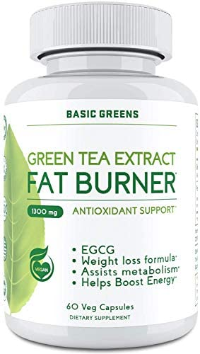 Green Tea Extract Supplement – Green Tea Pills with EGCG – Vegan Green Tea 60 Capsules 1300mg by BASIC GREENS