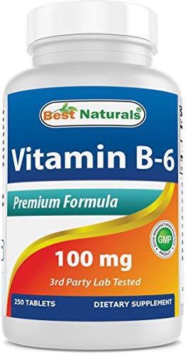 Best Naturals Vitamin B6 Tablet, 100 mg, 250 Count