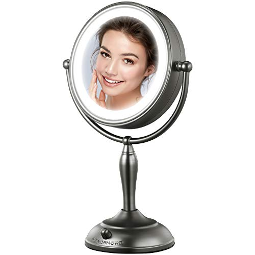 MIRRORMORE Professional 30″ Lighted Makeup Mirror, 10X Magnifying Vanity Mirror with 15 Medical LED Lights, Senior Pearl Nickel Cosmetic Mirror, Brightness Adjustable(0-1100Lux) Desk Lamp Alternative