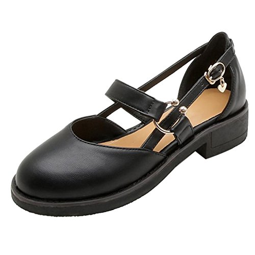 Women Summer Heel Black TAOFFEN Shoes Low Comfort RqwqCgd