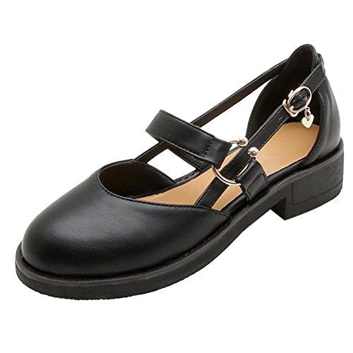 Black TAOFFEN Chaussures Ete Plates Femmes qwwZvx1