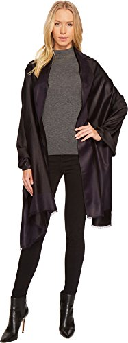 Echo Design Women's Reversible Border Silk Wrap Black/Navy One Size by Echo Design