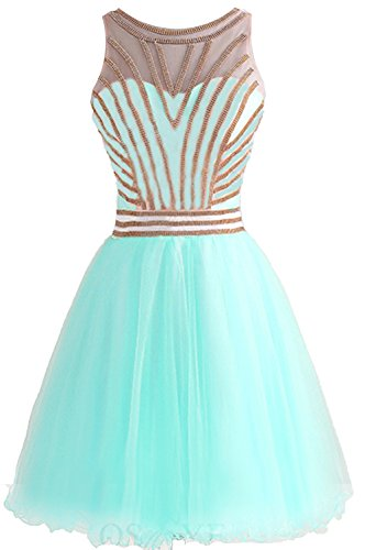 Bessdress Perles Or Robes Courtes Homecoming Tulle Robe Formelle Bal Piscine Bd336
