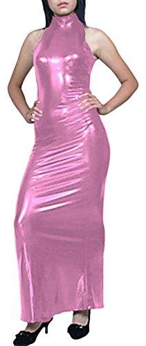 Howriis metallisch ärmellos glänzend von Rose Maxikleid Damenkleid PgnXUU