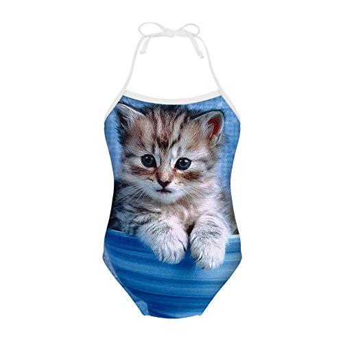 (Sannovo Girls One Piece Tankini Swimsuit Kitten Cat Face Swimwear Bathing Suit Blue 7Y-8Y)