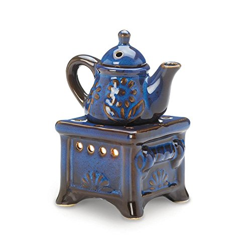 Fragrance Foundry Aroma Oil Warmer, Ceramic Blue Teapot Modern Best Massage Oil Warmer Candle