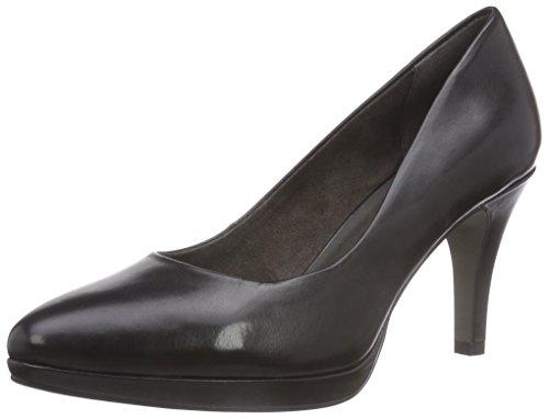 Tamaris 22405 - zapatos de tacón cerrados de cuero mujer negro - negro